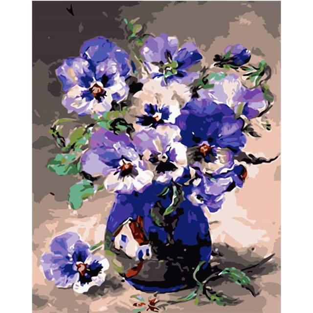 Purple Pansies - Coloring by Numbers Kit