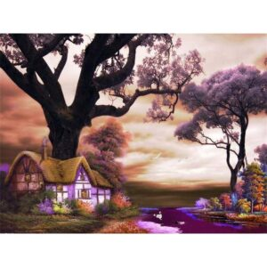 Purple Village - Painting on Canvas for Sale