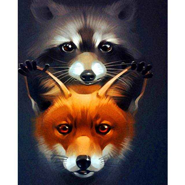 Raccoon and Fox - DIY Painting by Numbers for Adults