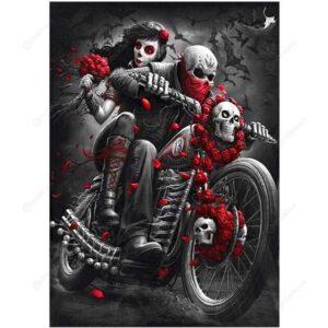 Red Rose Skull Biker - Halloween Paint by Numbers Kit