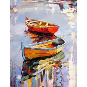 Reflection Boats in Water on Lake - Paint by Numbers for Adults