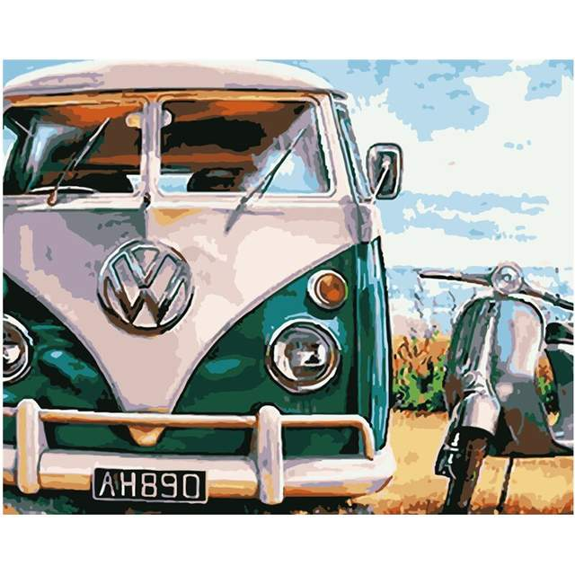 Retro Volkswagen Camper Bus and Vespa Scooter Paint by Numbers