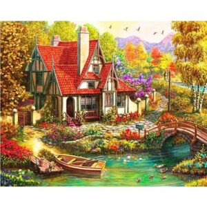 Riverside Cottage - Landscape Painting by Numbers for Adults