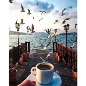 Romantic Morning Coffee on Pier - Paint by Numbers