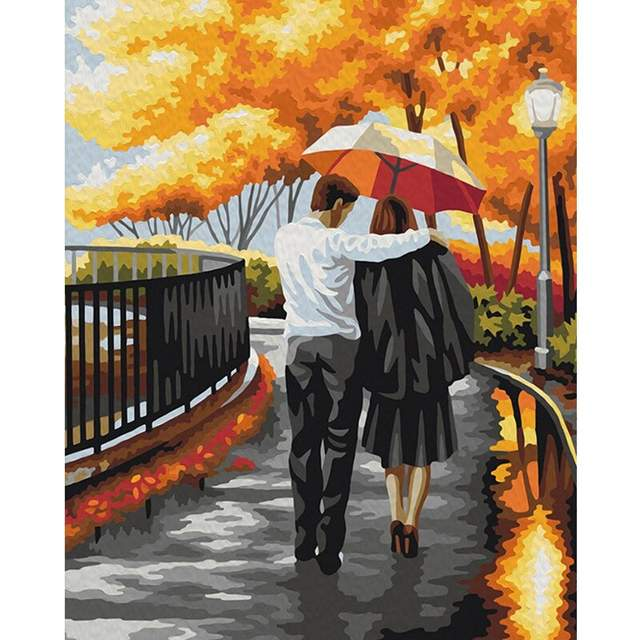 Romantic Walk in Fall Park - Coloring by Numbers for Adults