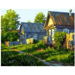 Rustic Wooden Houses - Painting by Numbers Kit