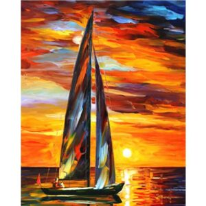 Sailing Boat in Sunset - Coloring by Numbers Kit