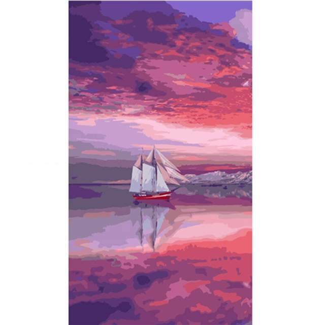 Sailing Ship on Purple at Sunset - Ships Coloring by Numbers Kit
