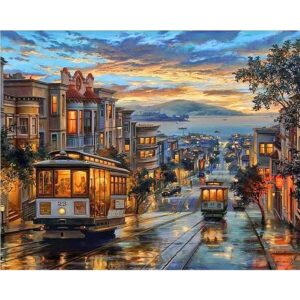 San Francisco Trams at Sunset - Acrylic Paint by Numbers for Adults