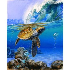 Sea Turtle and Ocean Wave - Painting by Number Kit