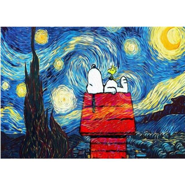 Snoopy Under Starry Night Painting by Numbers for Kids