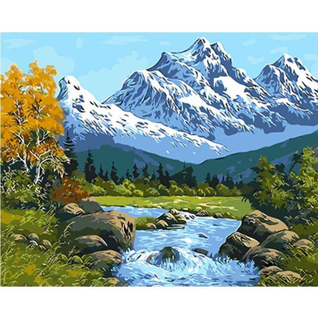 Snow Mountains Landscape - Picture by Numbers for Adults