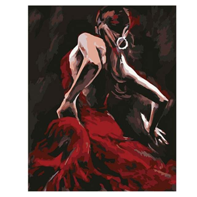 Spanish Flamenco Dancer - Painting by Numbers