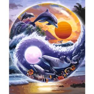 Sun and Moon Wave Dolphins in Yin Yang Symbol - Paint by Numbers