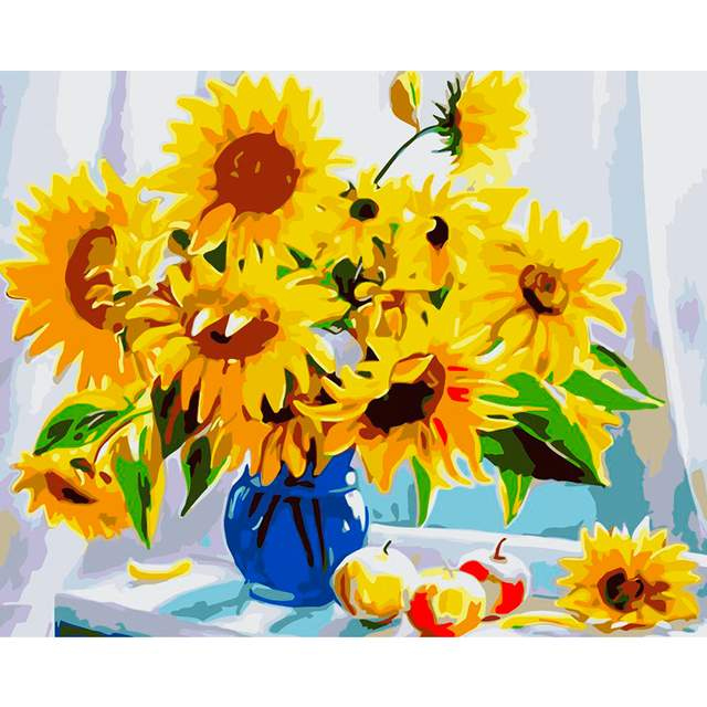 Sunflowers in Vase - Number Painting for Sale