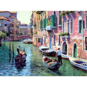 Sunny Day in Venice Italy - Painting by Numbers with DIY Frame