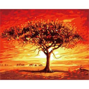 Sunset at Africa - Acrylic Color by Numbers Kit