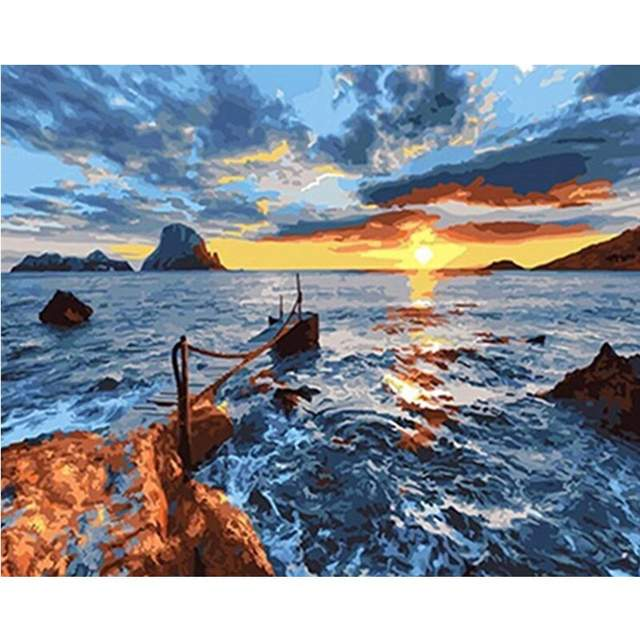 Sunset in Ocean Bay - Seascape Paint by Numbers Kit