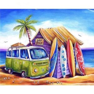 Surf Trip on Hippie Van - Paint by Numbers for Adults