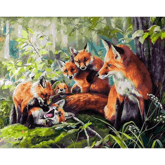 The Fox Family - Acrylic Paint by Numbers Set