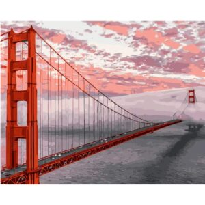 The Golden Gate Bridge at Sunset Acrylic Paint by Numbers