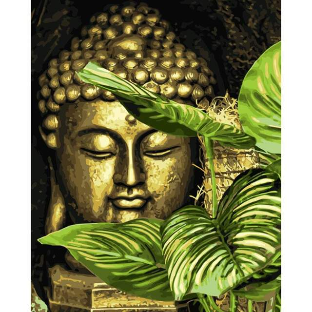 The Golden Head of the Buddha - Oil Paint by Numbers