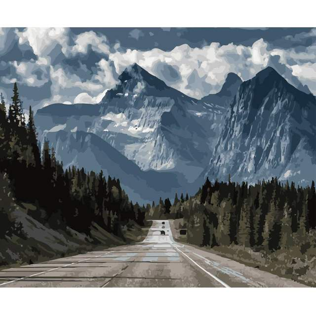 The Road to the Mountains - Painting by Numbers for Adults