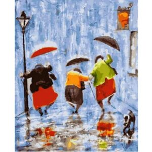 Three Old Ladies with Umbrellas - Oil Painting on Canvas