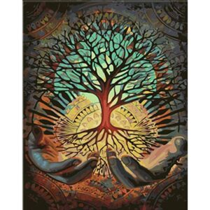 Tree of Light in Hands - Painting by Numbers for Adults
