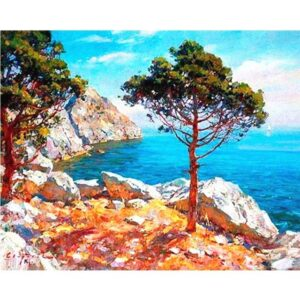Trees on a Rocky Cliff - Painting by Numbers Size 40 x 50 cm
