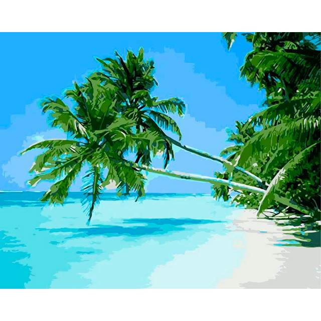 Tropical Island with Palm Trees - DIY Drawing by Numbers