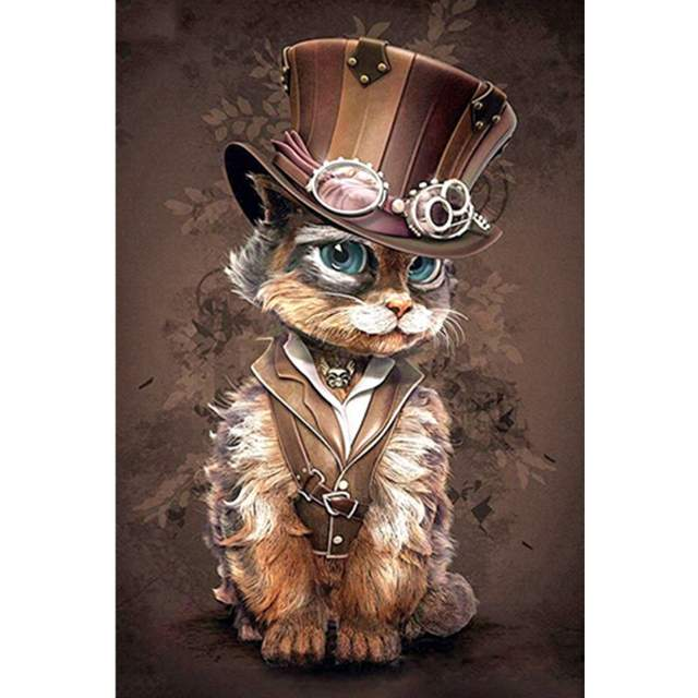Victorian Cat in a Hat - Acrylic Paint by Numbers