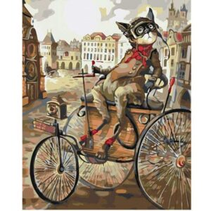 Victorian Cat on a Tricycle - Painting by Number Kit