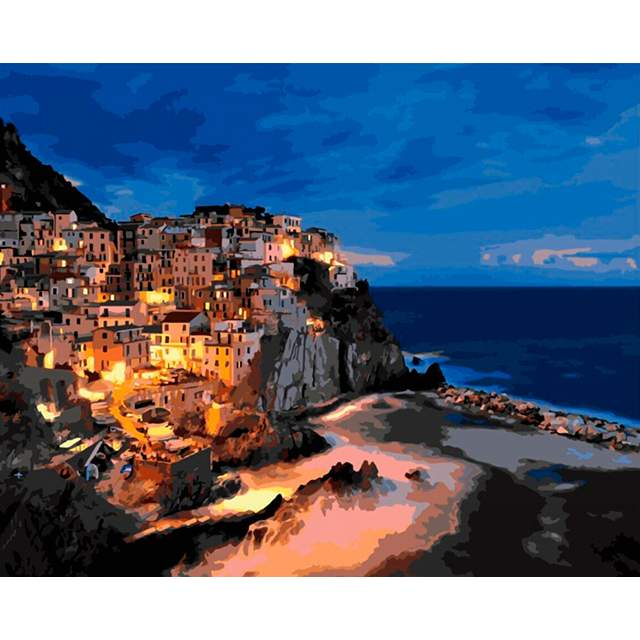 View of Manarola at Night - Europe Paint by Number