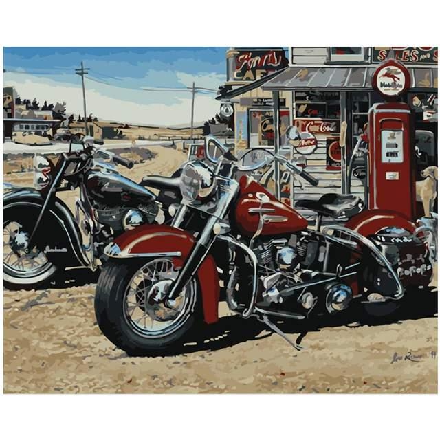 Vintage Harley Davidson Motorcycles - Paint by Numbers Kit