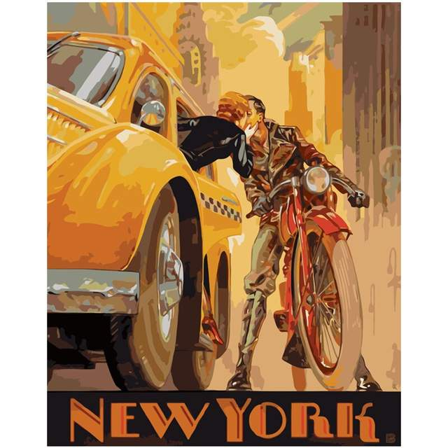 Vintage Poster Meet Me in Manhattan Paint by Numbers for Adults