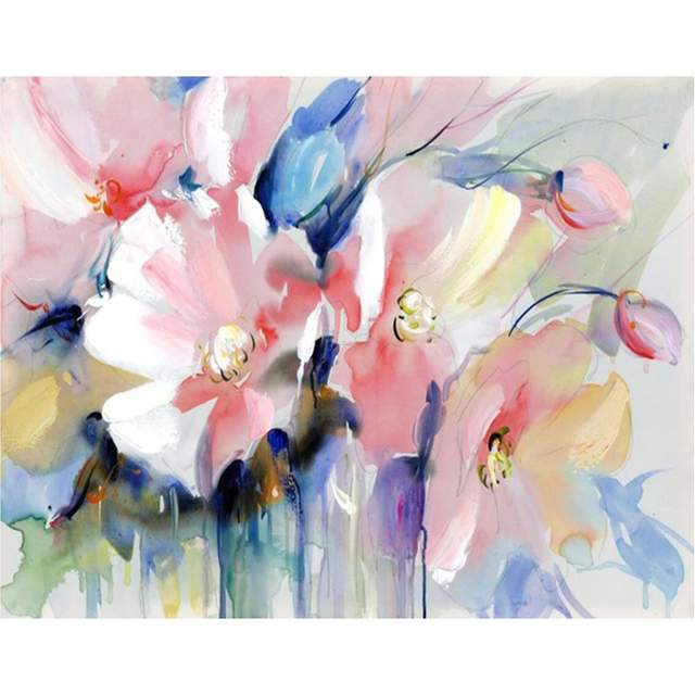 Watercolor Malva Flowers - Paint by Numbers for Sale