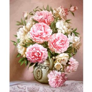Watercolor Peonies - Drawing by Numbers with DIY Frame