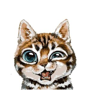 Whimsical Cat with Big Blue Eyes - Easy Paint by Numbers for Kids