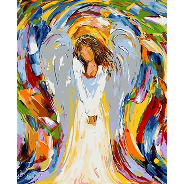 White Angel with Wings - Acrylic Paint by Numbers for Adults
