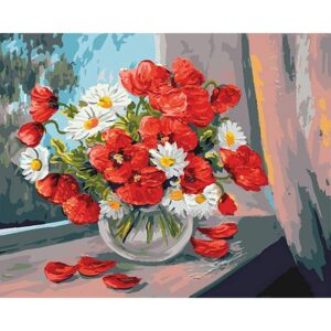 White Daisies and Red Poppies - Flower Coloring by Numbers