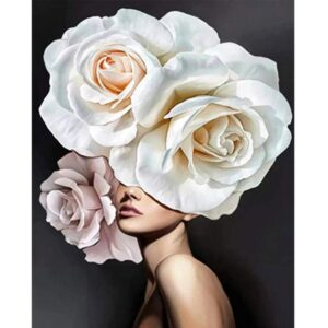 White Rose Head Lady Color by Numbers Kit
