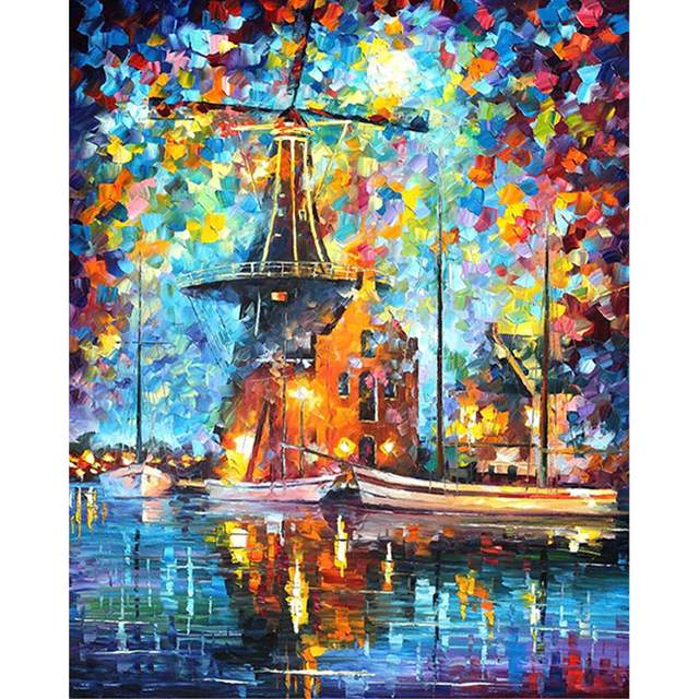 Windmill on the River in Holland - Acrylic Paint by Numbers