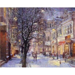 Winter Evening in the European City - Paint by Numbers with DIY Frame