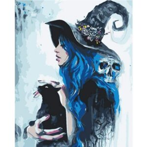 Witch with Her Cat Coloring by Numbers Kit