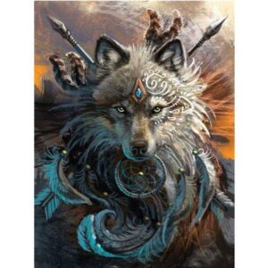 Wolf Indian Warrior Acrylic Painting by Numbers