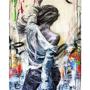 Woman Drawing on Wall Acrylic Paint by Numbers
