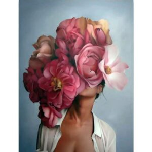 Woman Pink Flowers Head - Painting by Numbers for Adults