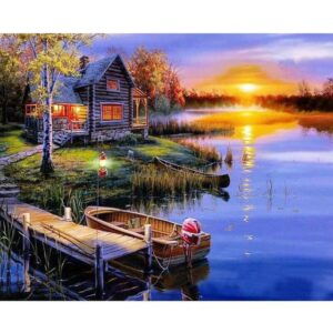 Wooden Boathouse on Lake - Paint by Numbers for Adults