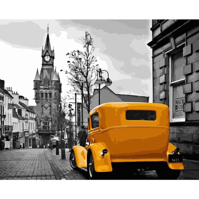 Yellow Ford Roadster in Old Town - Acrylic Paint by Numbers
